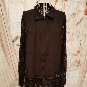 NWOT Venus Black Tunic Blouse With Lace Hem